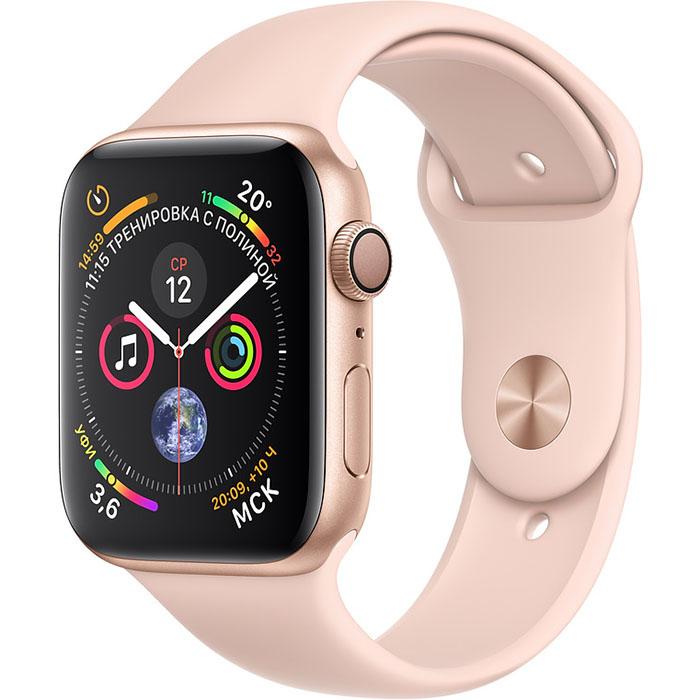 Умные часы Apple Watch Series 4 44 мм, золотистый алюминий, спортивный ремешок цвета «розовый песок»