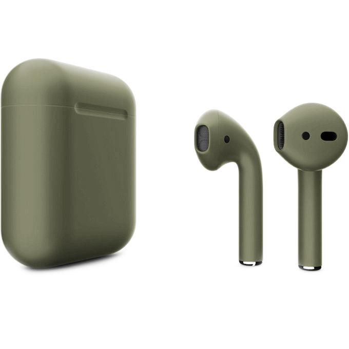 Беспроводные наушники Apple AirPods 2 (второе поколение) Custom Edition болотно-зелёные матовые
