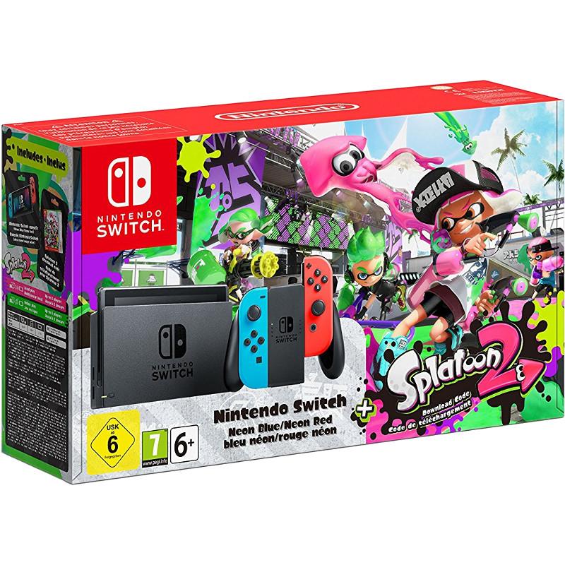 Комплект Nintendo Switch неоновая красная/неоновая синяя + игра Splatoon 2