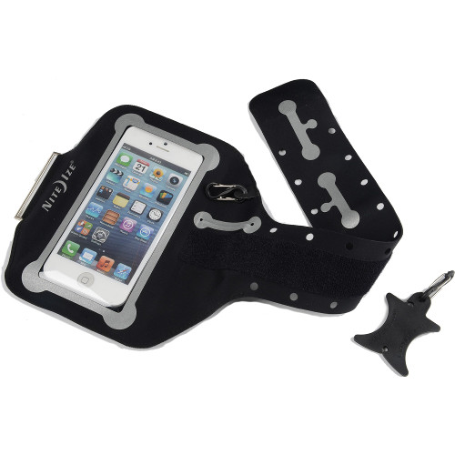 Чехол Nitelze Action ArmBand для iPhone 4/4s, iPod Touch чёрный (+ органайзер для наушников Curvyman и S-карабин)