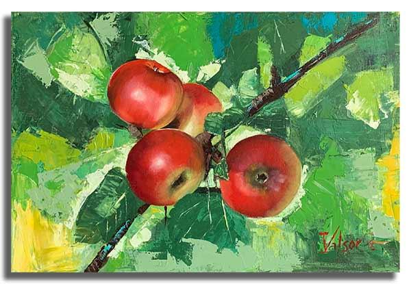 Интерьерная картина маслом (40 х 60 см) Яблоки