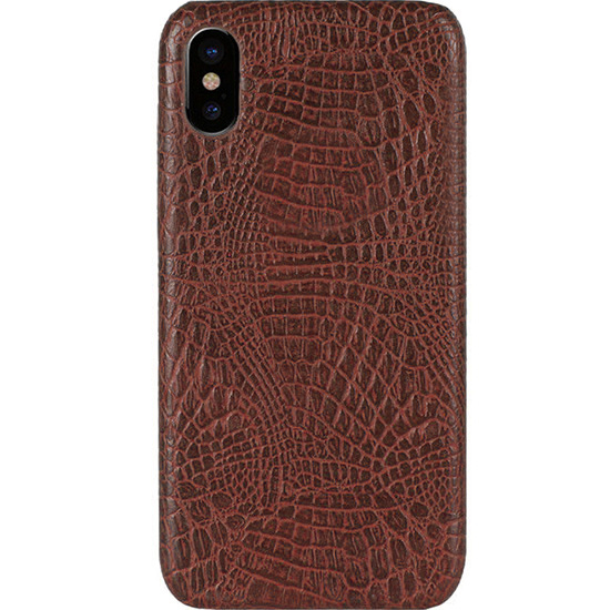 Чехол Brando Leather Croco Case для iPhone X/Xs коричневый крокодил