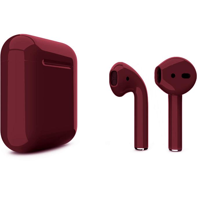 Беспроводные наушники Apple AirPods 2 (второе поколение) Custom Edition бордовые глянцевые