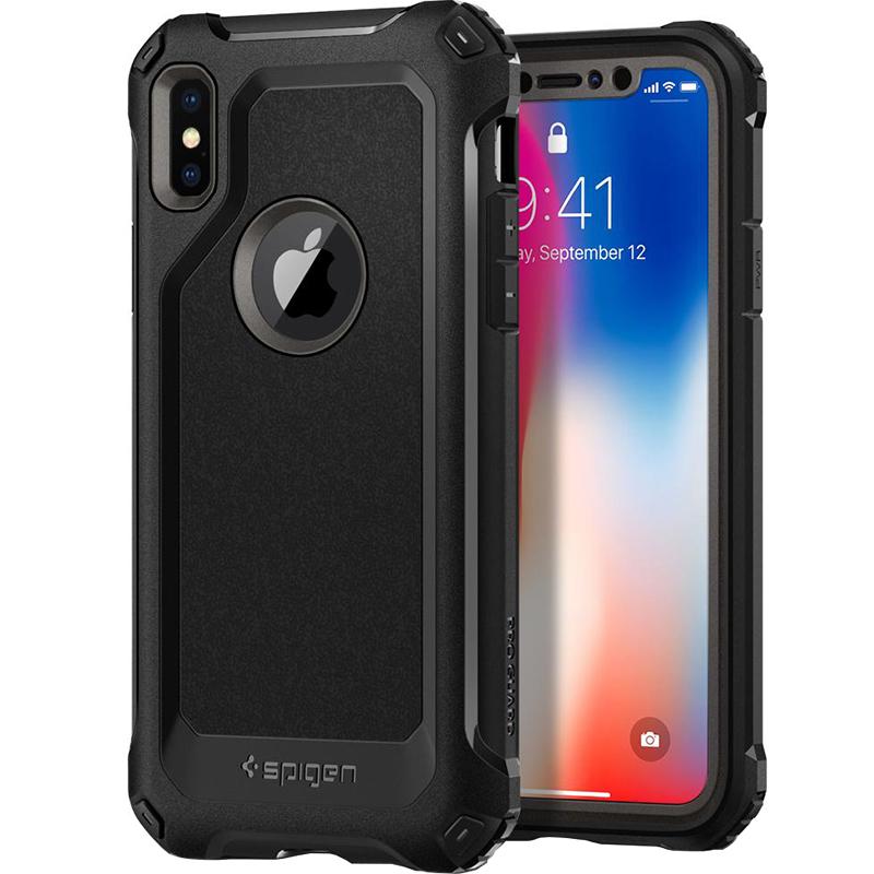 Чехол Spigen Pro Guard для iPhone X стальной (057CS22652)