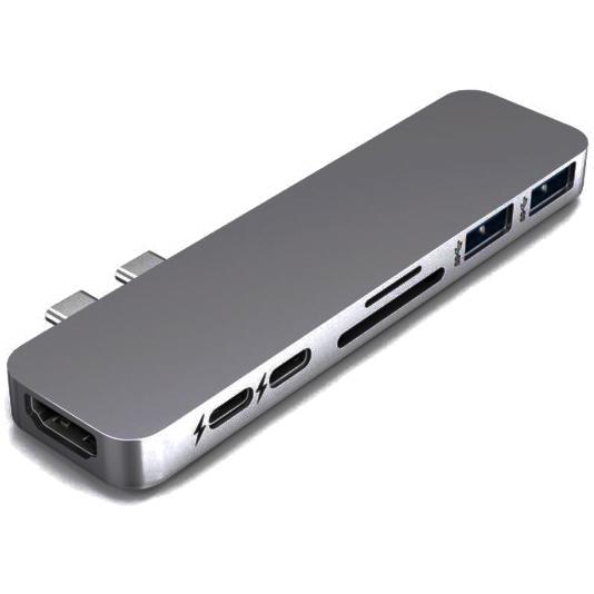 Хаб HyperDrive DUO 7-in-2 USB-C Hub для MacBook Pro/Air (USB-C) серый космос (HD28C-GRAY)