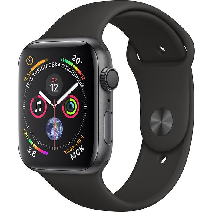 Умные часы Apple Watch Series 4 44 мм, алюминий «серый космос», спортивный ремешок чёрного цвета