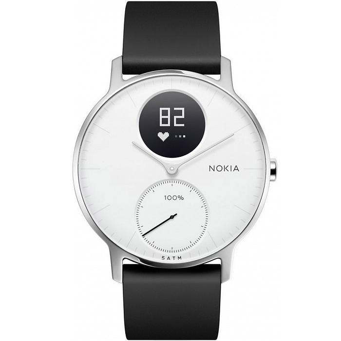 Умные часы Nokia Steel HR 36 мм (белый циферблат) Серебристый / чёрный силиконовый ремешок