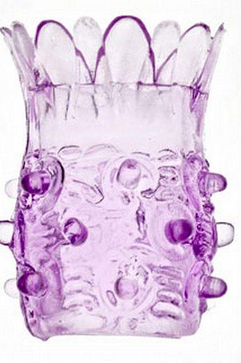 Фиолетовая насадка на фаллос с шипами в виде ананаса