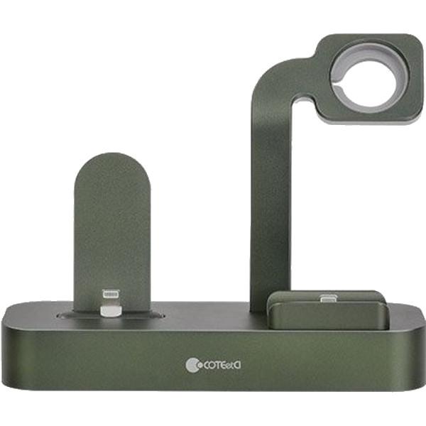 Док-станция COTEetCI 3-in-1 Multifunction Charging Stand Base29 для iPhone/Apple Watch/AirPods Pro зелёная (CS7211-GR)
