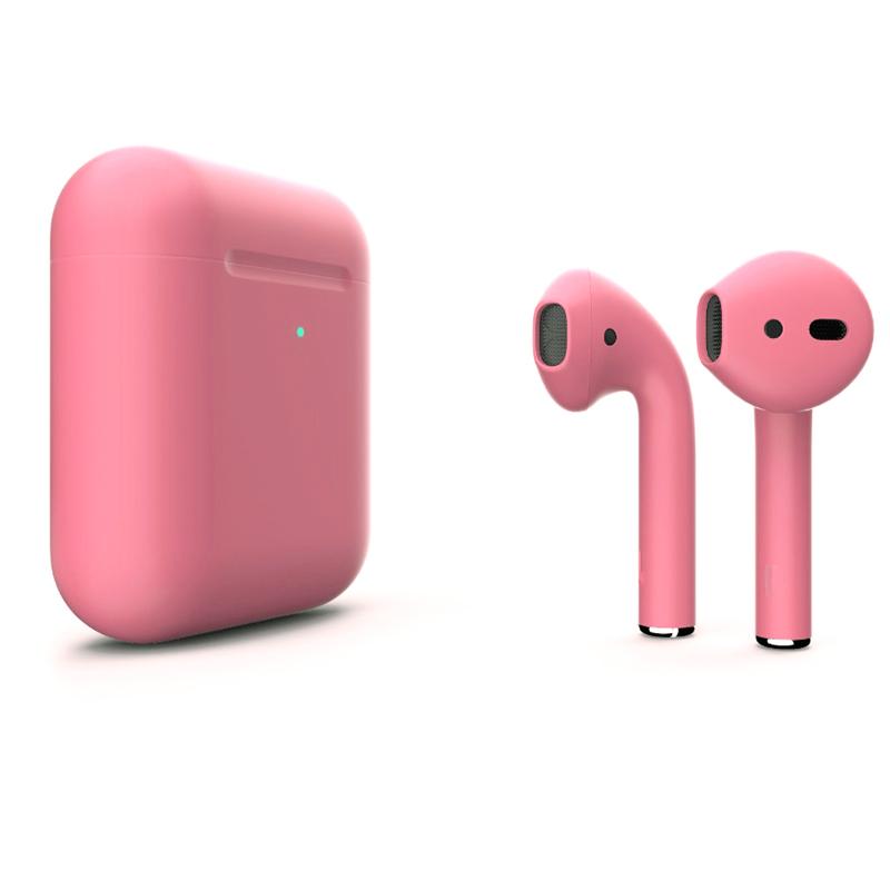 Беспроводные наушники Apple AirPods 2 (с функцией беспроводной зарядки) Custom Edition розовые матовые