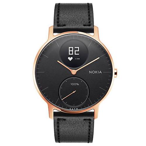 Умные часы Nokia Steel HR 36 мм (чёрный циферблат) Rose Gold / Black Silicon & Leather Band