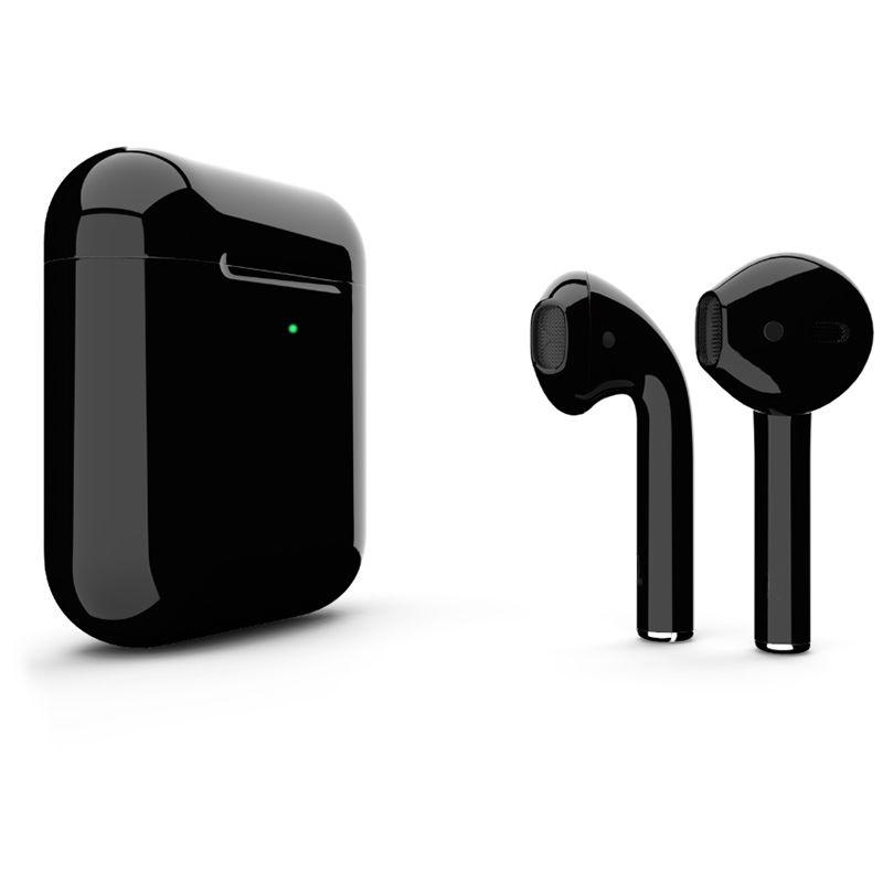 Беспроводные наушники Apple AirPods 2 (с функцией беспроводной зарядки) Custom Edition чёрные глянцевые