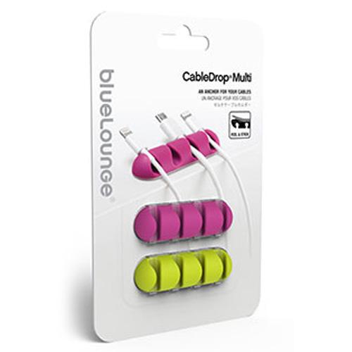 Держатель для проводов Bluelounge CableDrop Multi фиолетовый и зелёный (два в комплекте)