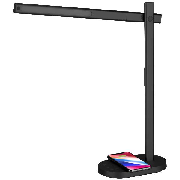 Светодиодная лампа Momax Q.LED Desk Lamp с беспроводной зарядкой чёрная