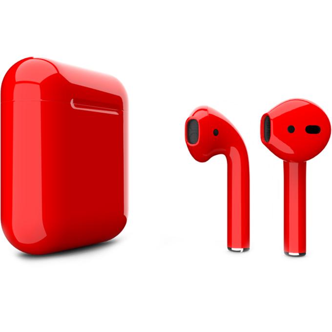 Беспроводные наушники Apple AirPods 2 (второе поколение) Custom Edition красные глянцевые