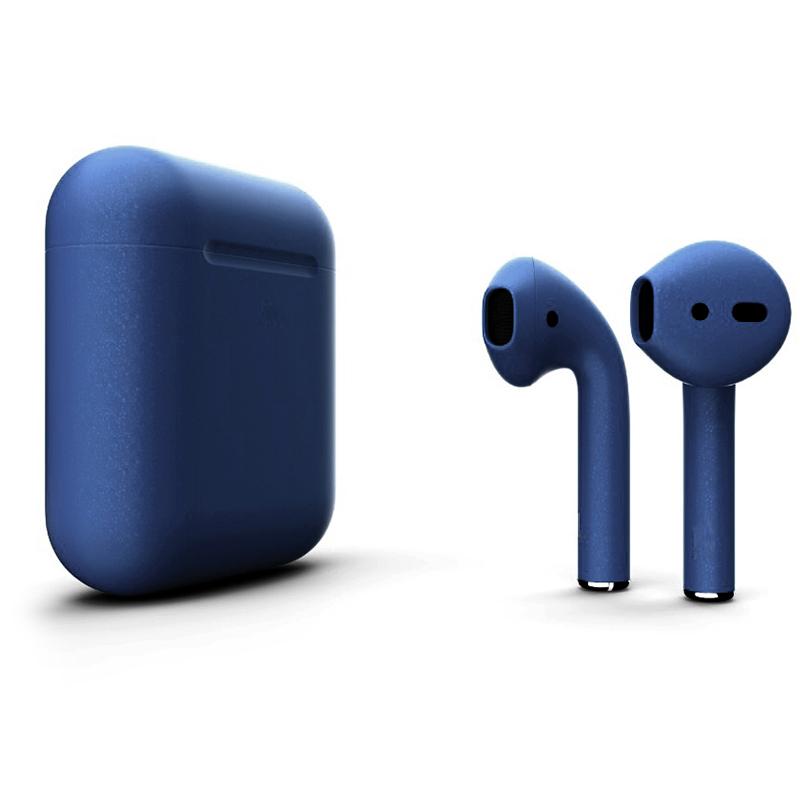 Беспроводные наушники Apple AirPods 2 (второе поколение) Custom Edition синий матовый металлик