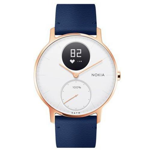 Умные часы Nokia Steel HR 36 мм (белый циферблат) Rose Gold / Grey Silicon & Blue Leather Band