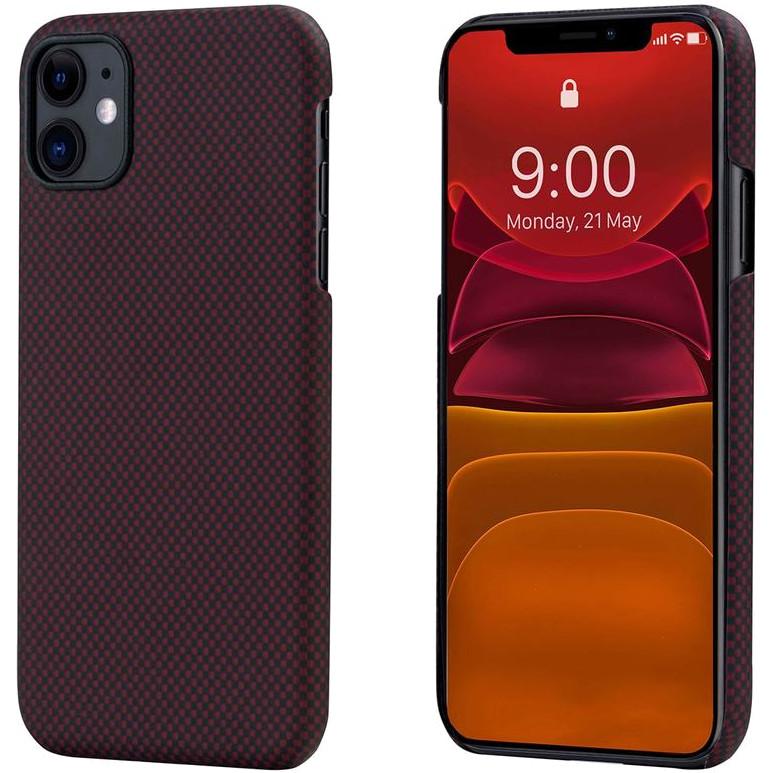 Чехол PITAKA MagCase для iPhone 11 бордовый карбон (Plain)