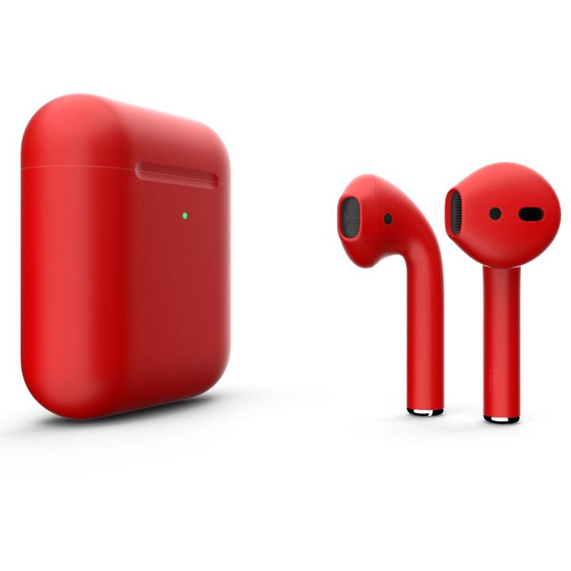 Беспроводные наушники Apple AirPods 2 (с функцией беспроводной зарядки) Custom Edition красные матовые