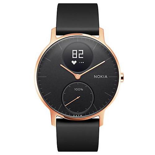 Умные часы Nokia Steel HR 36 мм (чёрный циферблат) Rose Gold / Black Silicon Band