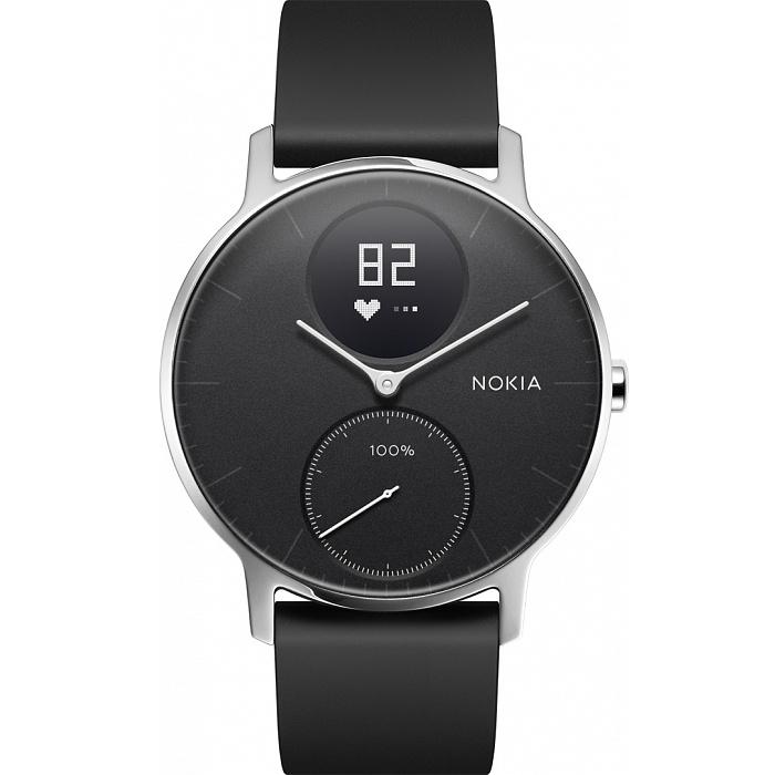Умные часы Nokia Steel HR 36 мм (чёрный циферблат) Серебристый / чёрный силиконовый ремешок