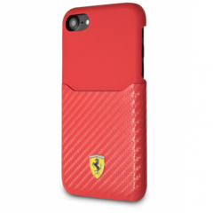 Чехол Ferrari On Track Carbon Card Slot для iPhone 7/8/SE 2  красный