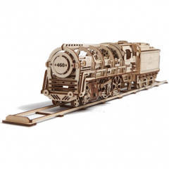 3D-пазл UGears Локомотив с тендером (Locomotive with Tender)